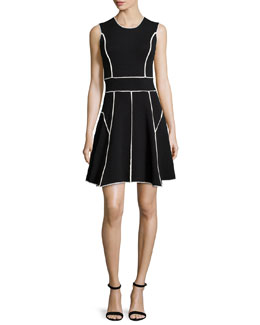 Contrast-Seam Fit-and-Flare Dress, Black/Ivory