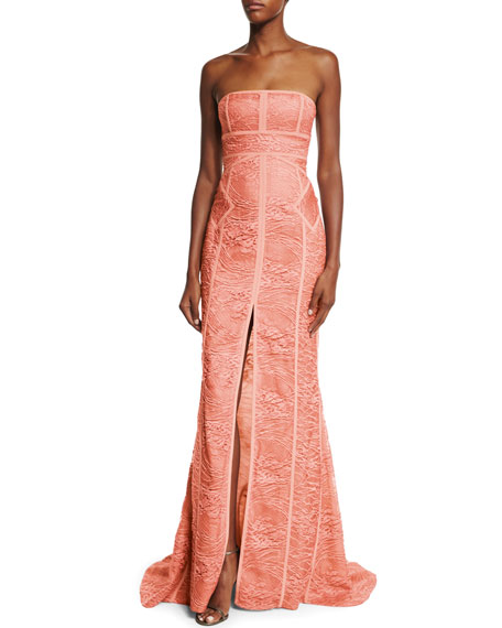 Strapless Tonal Piping Lace Gown Coral