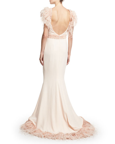 Feather-Embellished Organza Column Gown, Pink