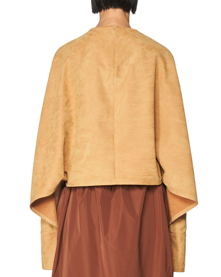Faux-Suede Dolman Top, Brown