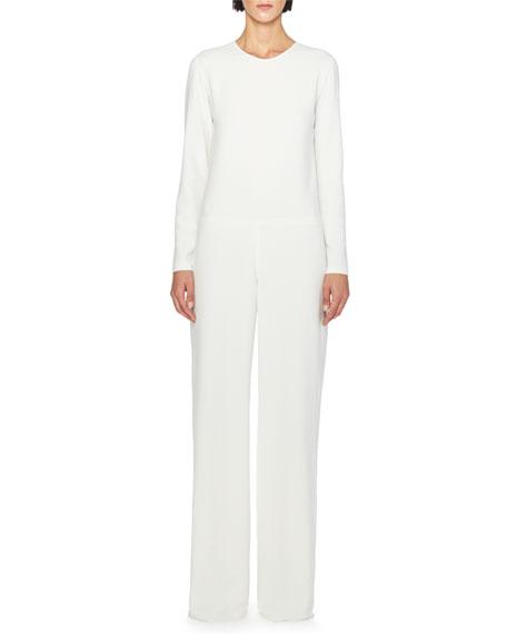 Lace-Back Wide-Leg Jumpsuit, White