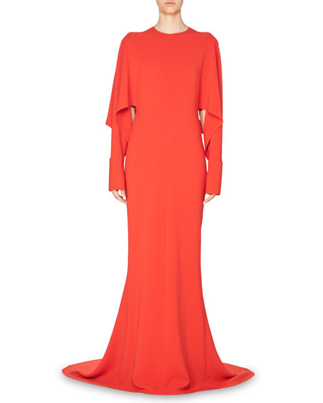 Draped-Sleeve Cady Gown, Red