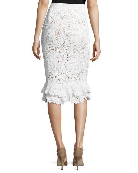 Lace Ruffle-Hem Pencil Skirt, Ivory