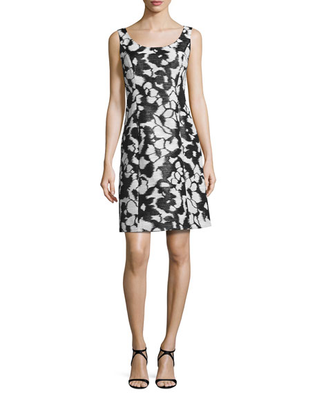 Sleeveless Fil Coupe Shift Dress, Black/White