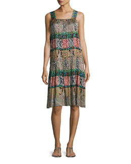 Mixed-Print Silk Day Dress, Black Pattern