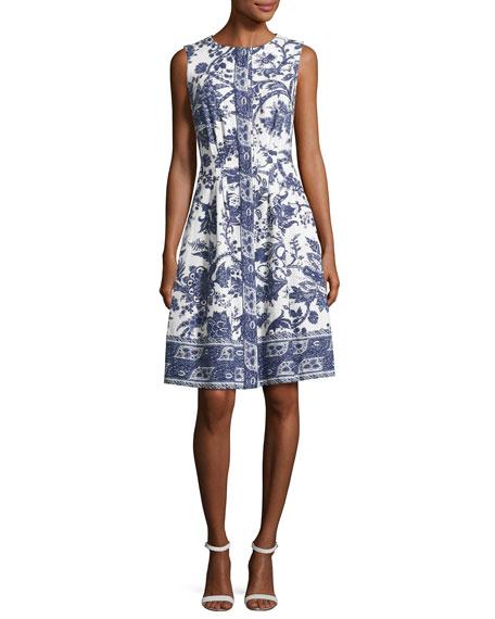 Sleeveless Toile-Print Cotton Dress, White Pattern