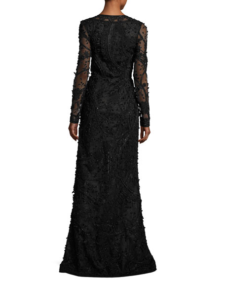 Beaded Long-Sleeve V-Neck Gown, Black