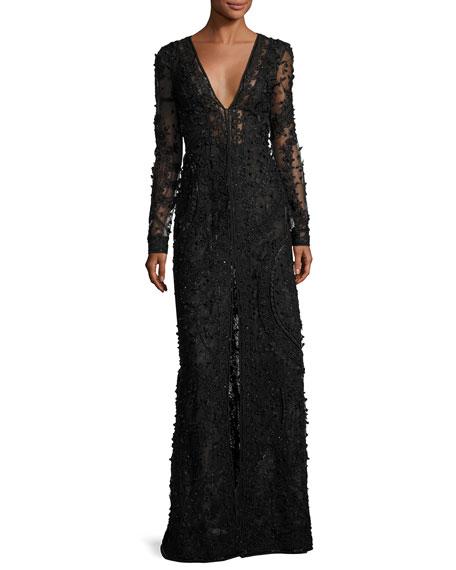 Beaded Long-Sleeve V-Neck Gown, Black