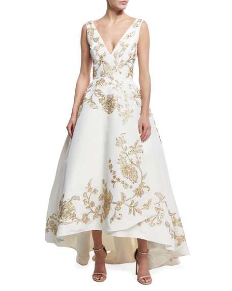 Embroidered Silk Faille High-Low Gown