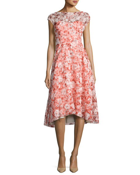 Flocked Poppy-Print Organza Dress, Red