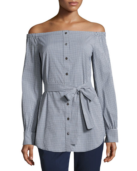 Michael Kors Collection Gingham Off-the-Shoulder Belted Tunic,