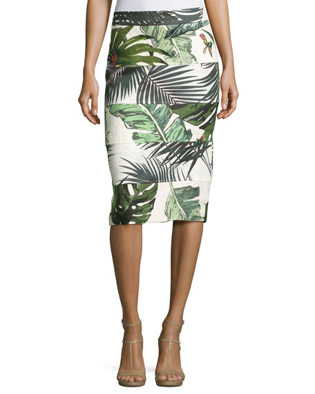 Seamed Palm-Print Pencil Skirt, Ivory