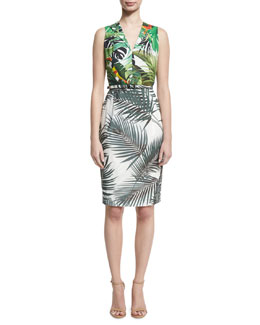 Sleeveless Mixed Palm-Print Dress, White