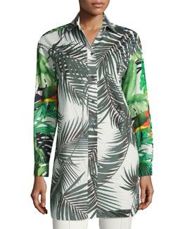 Palm-Print Tunic Blouse, White