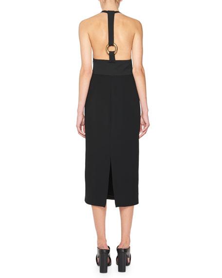 Tank Dress w/Leather Racerback, Black
