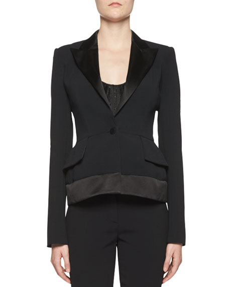 Stretch-Cady Jacket w/Satin Trim, Black