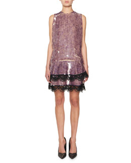 Sequined Cocktail Dress w/Layered Lace