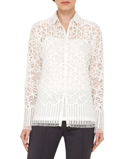 Geometric Lace Button-Front Blouse