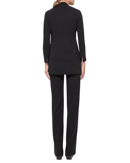 Carla Double-Face Straight-Leg Pants, Black