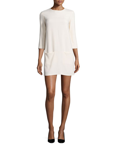 Marina 3/4-Sleeve Mini Dress  Cream