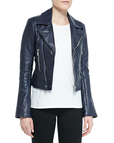 Notched-Collar Leather Biker Jacket
