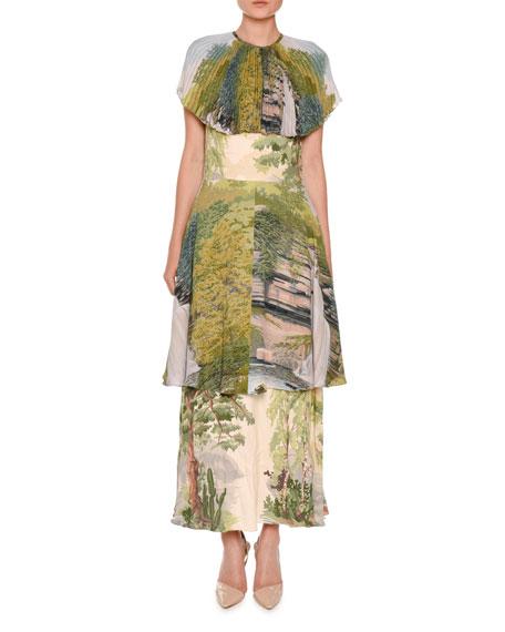 Landscape-Print Tiered Capelet Dress, Multi
