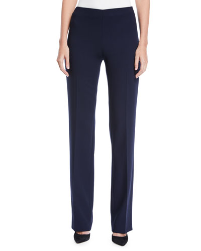 Carole Flat-Front Straight-Leg Wool Double-Face Pants