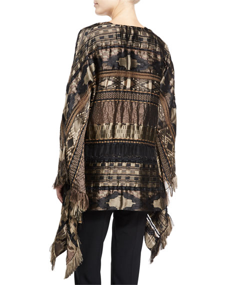 Embroidered Silk-Blend Cape, Brown