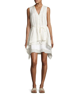Draped Sleeveless Belted Dress, White