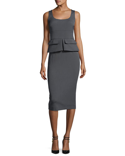 Sleeveless Peplum Sheath Midi Dress