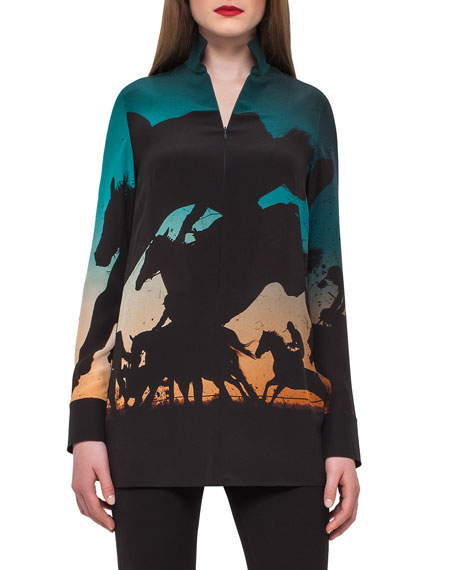 Turf-Print Silk Crepe Tunic Top, Multi