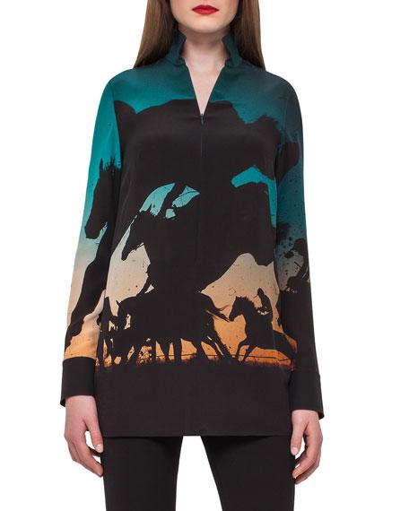 Turf-Print Silk Crepe Tunic Top, Multi