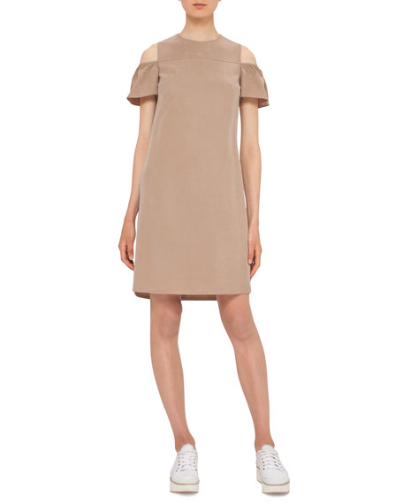 Akris punto Cap-Sleeve Cold-Shoulder Shift Dress, Sand