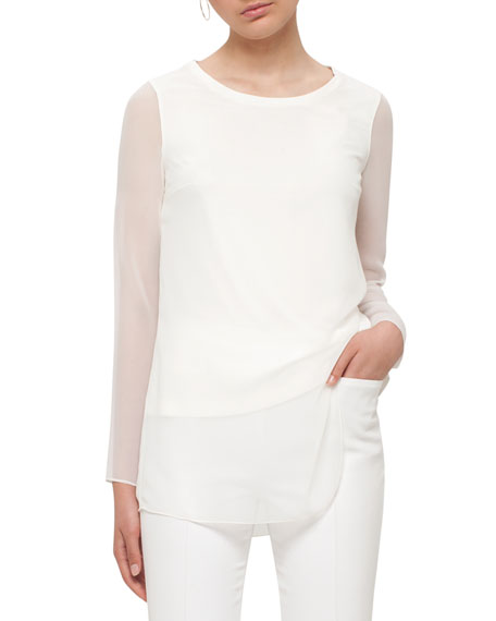 Sheer-Sleeve Layered Top, Cream