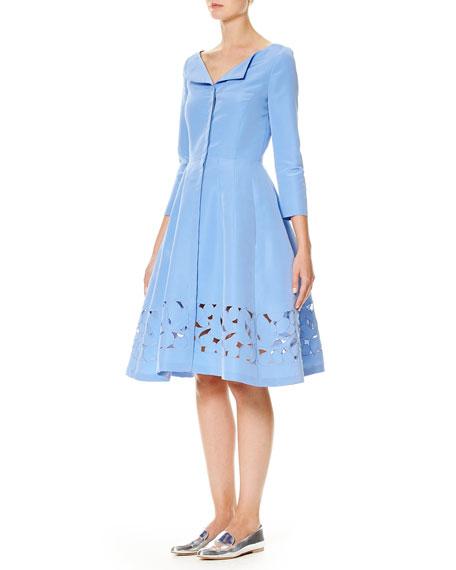 3/4-Sleeve Silk Faille Shirtdress, Blue
