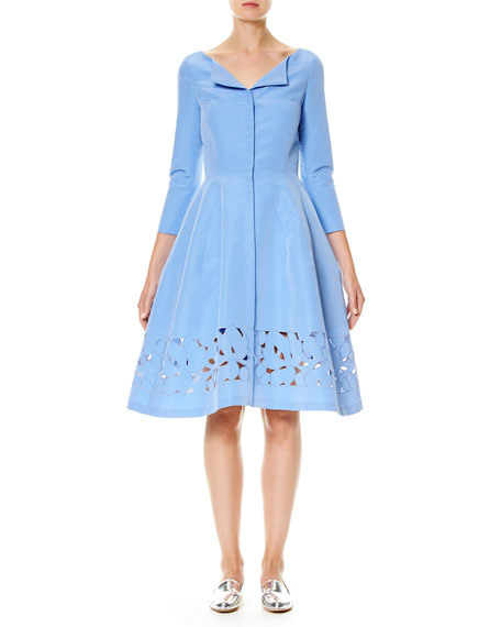 3/4-Sleeve Silk Faille Shirtdress, Blue