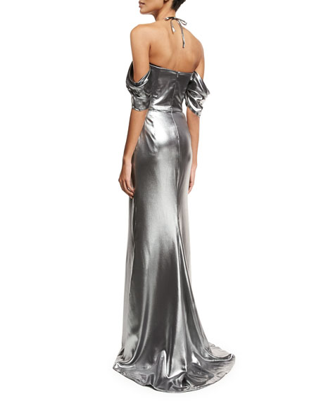 Metallic Off-Shoulder Halter Gown, Pewter