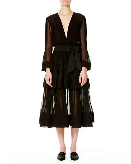 Deep-V Long-Sleeve Silk Dress, Black