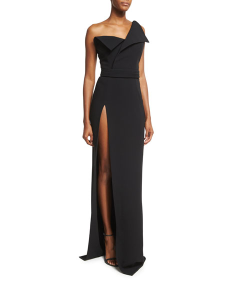 Brandon Maxwell Fold-Over High-Slit Gown, Black
