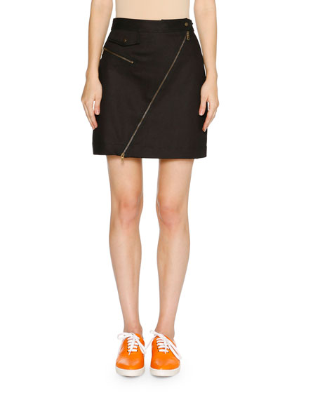Asymmetric-Zip A-Line Mini Skirt, Dark Navy