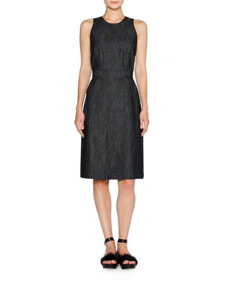Denim A-Line Midi Dress, Dark Navy