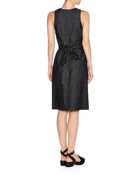 Denim A-Line Midi Dress, Dark Navy