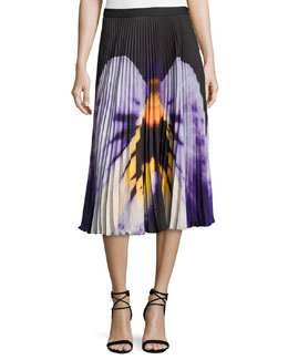 Pansy-Print Pleated Midi Skirt, Black