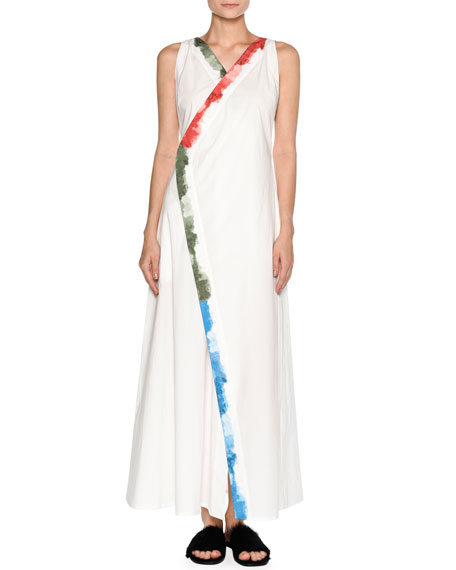 Painted-Edge Cotton Maxi Dress, White Pattern