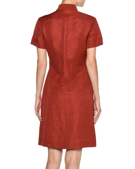 Short-Sleeve A-Line Shirtdress, Red