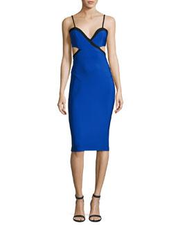 Cutout Cross-Front Midi Dress, Blue/Black