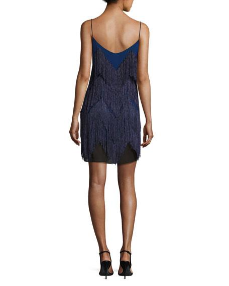 Feria Fringe V-Neck Cocktail Dress, Royal