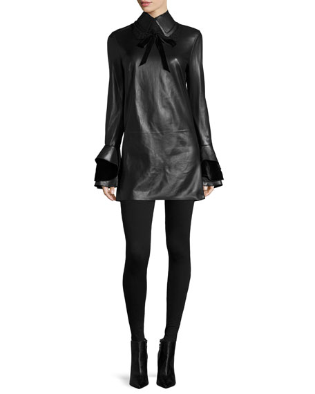 Laverne Bell-Sleeve Leather Dress, Black