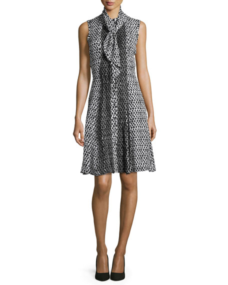 Printed Sleeveless Dress with Scarf, Black