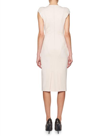 Seamed Cap-Sleeve V-Neck Sheath Dress